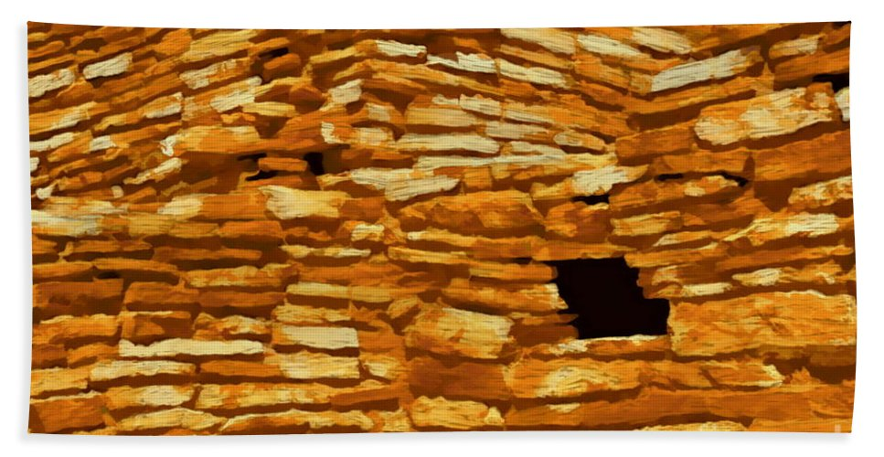 Digital Painting Hand Towel featuring the digital art Wupatki Masonry 2 by Tim Richards
