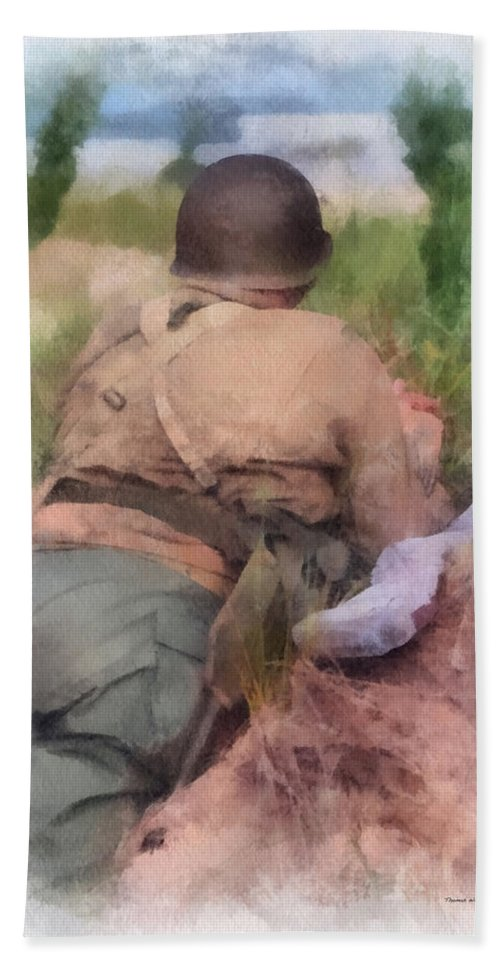 Army Hand Towel featuring the photograph Ww II Us Army Soldier Photo Art by Thomas Woolworth