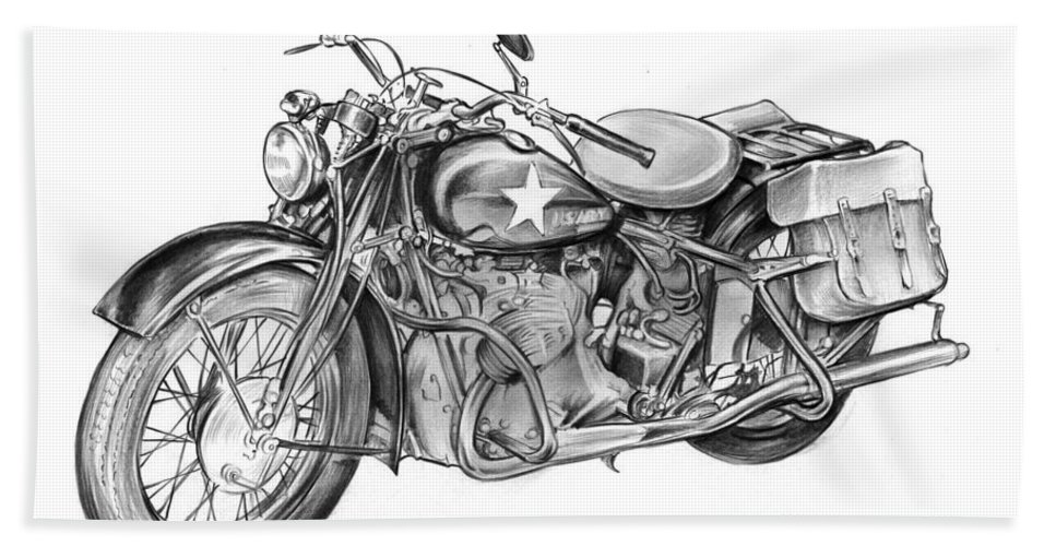 Ww2 Bath Towel featuring the drawing Ww2 Military Motorcycle by Greg Joens