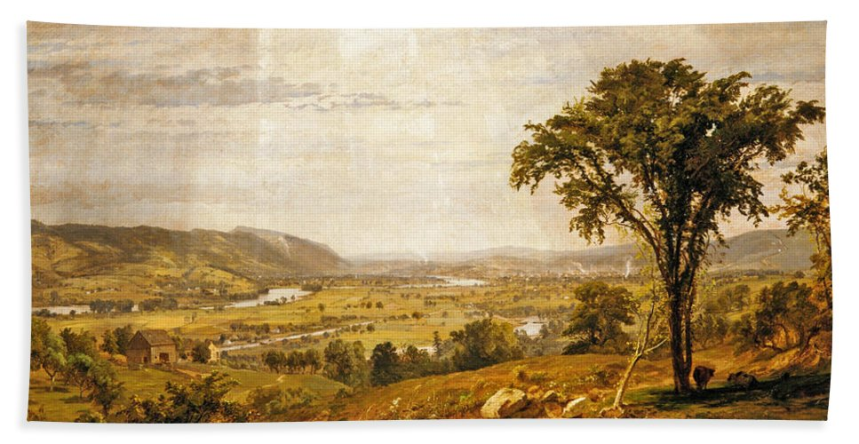 Jasper Francis Cropsey Hand Towel featuring the painting Wyoming Valley. Pennsylvania by Jasper Francis Cropsey