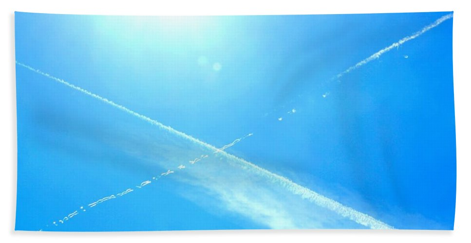 X Hand Towel featuring the photograph X In The Sky by Tara Potts