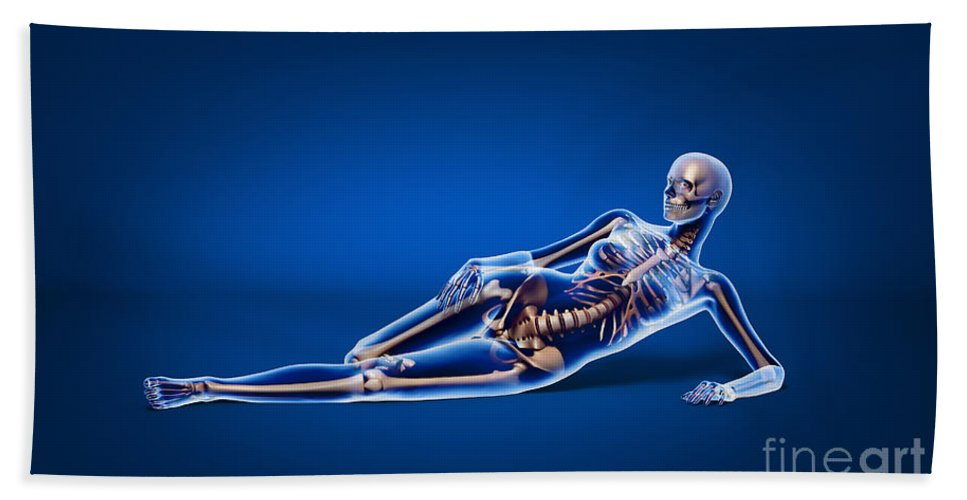 Three Dimensional Bath Sheet featuring the digital art X-ray View Of A Woman Laying by Leonello Calvetti