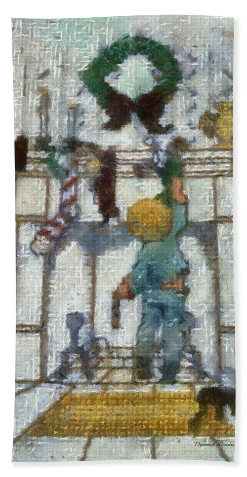 Stocking Bath Towel featuring the photograph Xmas Little Boy With His Stocking Photo Art by Thomas Woolworth
