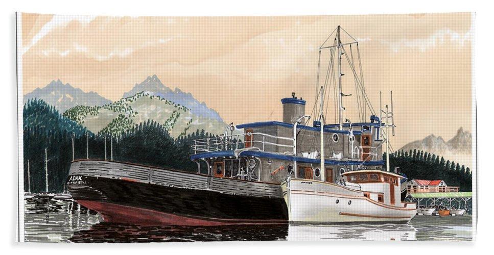 Yacht Portraits Bath Sheet featuring the painting Alaskan Sunrise by Jack Pumphrey