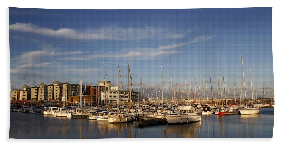 Berthed Hand Towel featuring the photograph Yachts In A Marina At Sunset by Steve Ball