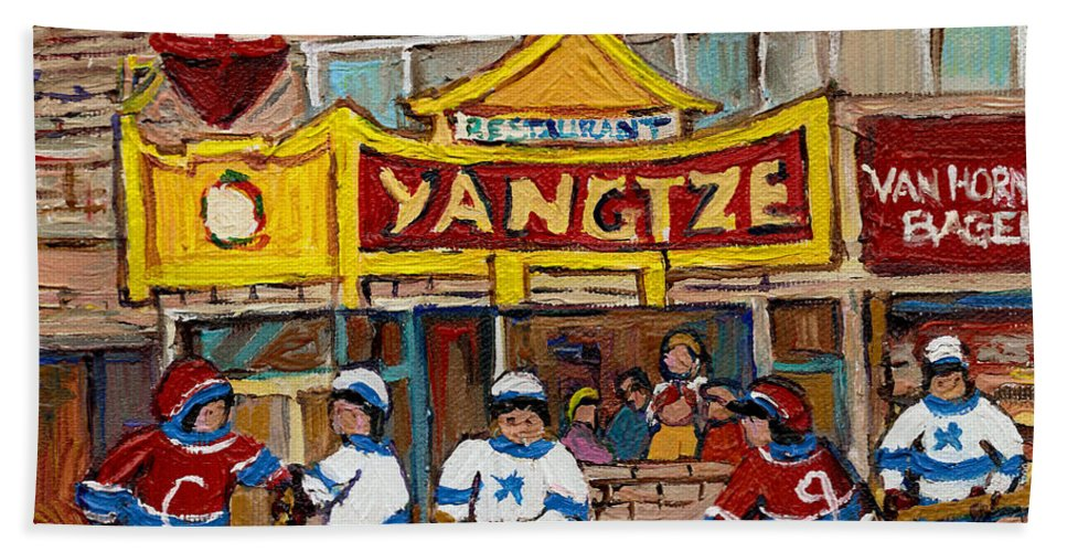 Montreal Bath Towel featuring the painting Yangtze Restaurant With Van Horne Bagel And Hockey by Carole Spandau