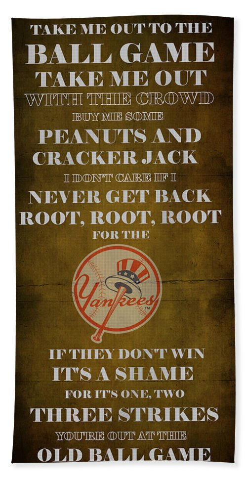 Yankees Hand Towel featuring the digital art Yankees Peanuts And Cracker Jack by Movie Poster Prints
