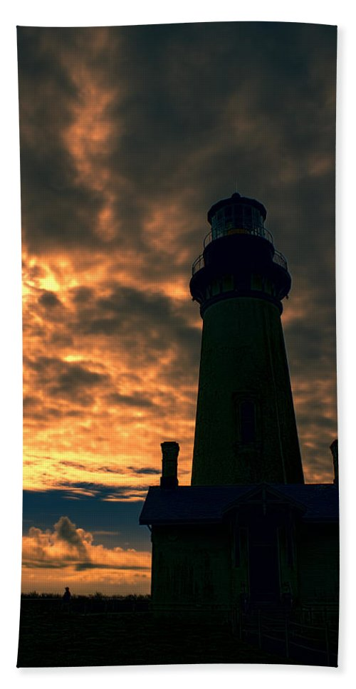 Bath Sheet featuring the photograph Yaquina Head Lighthouse 5 by Cathy Anderson