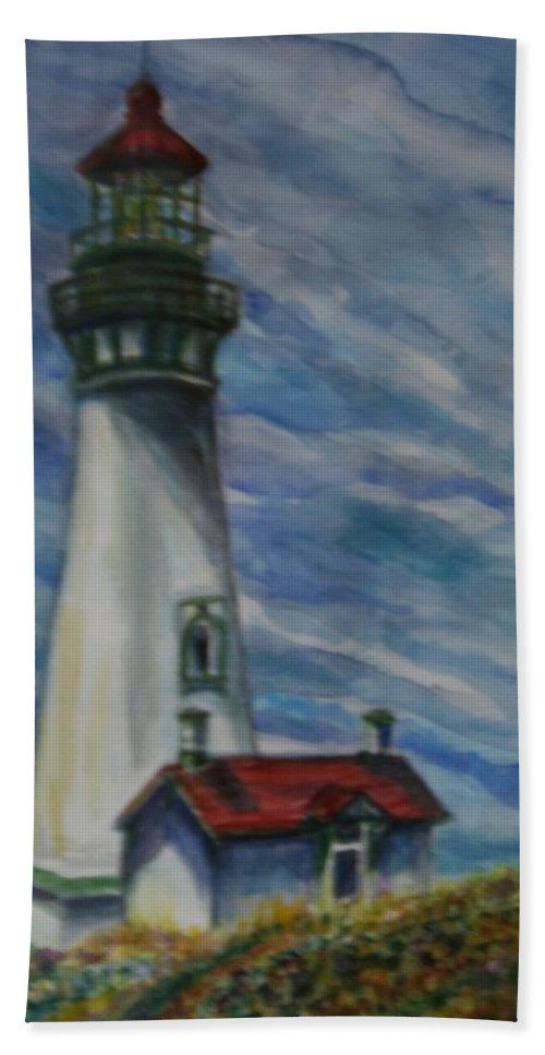 Quin Sweetman Bath Towel featuring the painting Yaquina Head Lighthouse Original Painting by Quin Sweetman