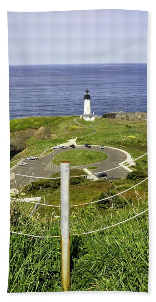Newport Hand Towel featuring the photograph Yaquina Lighthouse From Salal Hill Trail by Image Takers Photography LLC - Laura Morgan