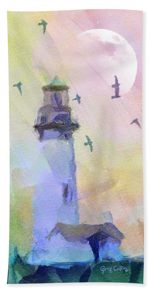 Lighthouse Hand Towel featuring the painting Yaquina Lighthouse by Greg Collins