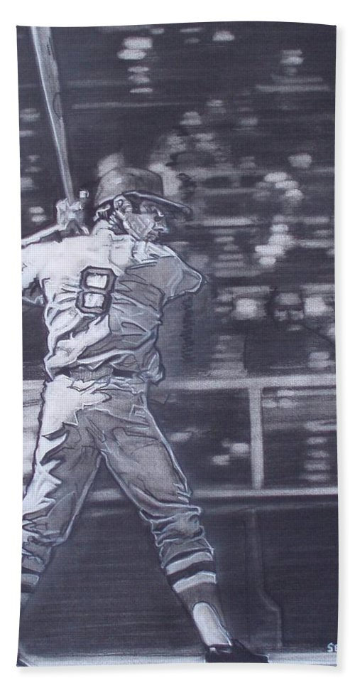 Charcoal On Paper Bath Towel featuring the drawing Yaz - Carl Yastrzemski by Sean Connolly