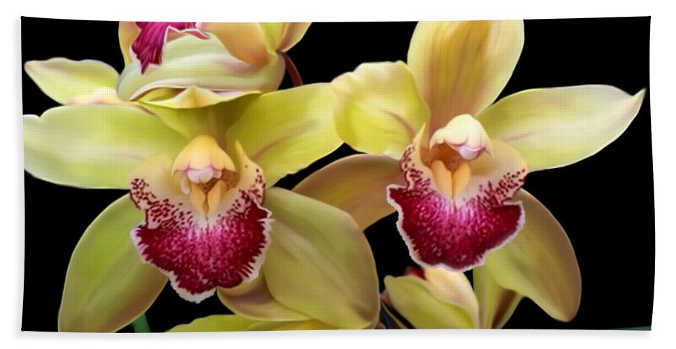 Yellow Hand Towel featuring the mixed media Yellow And Pink Orchids by Anthony Seeker