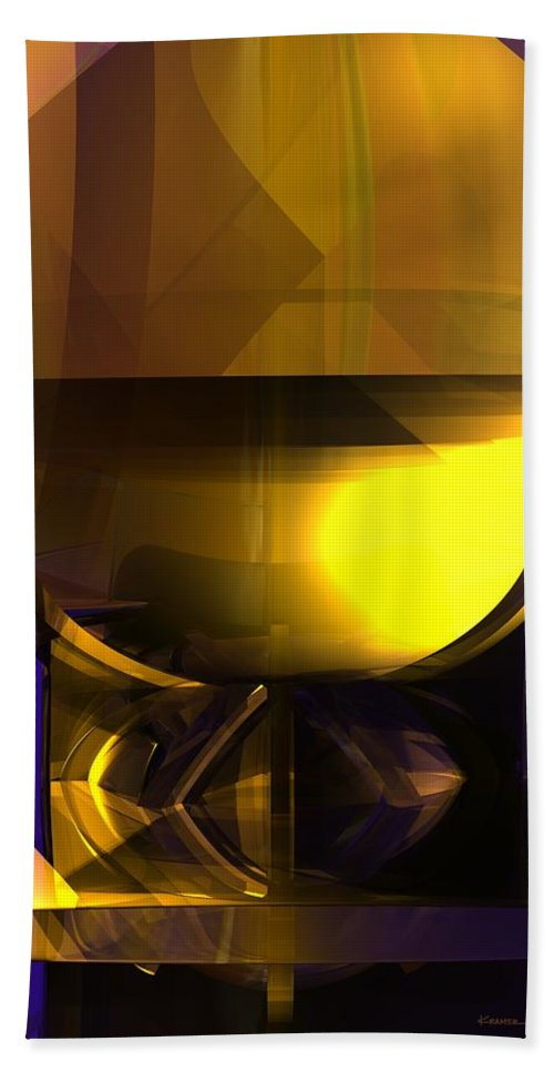 Abstract Bath Sheet featuring the digital art Yellow And Purple Contrast by James Kramer
