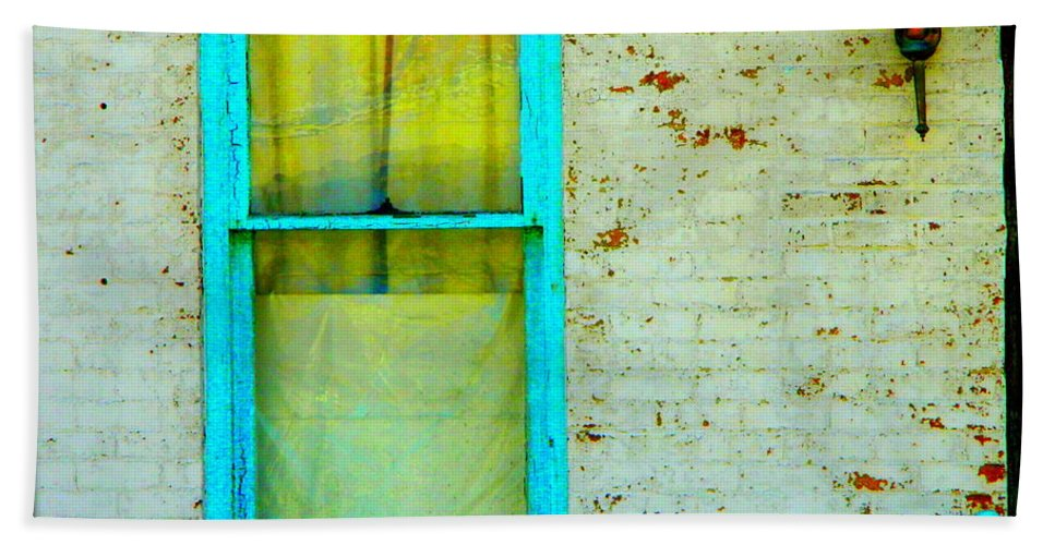 Turquoise Hand Towel featuring the photograph Art Deco Lamp And Yellow And Turquoise Window by Kathy Barney