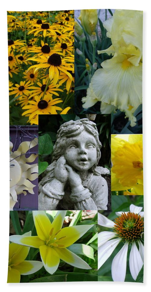 Yellow Hand Towel featuring the photograph Yellow And White Flower Collage by Erin Rednour
