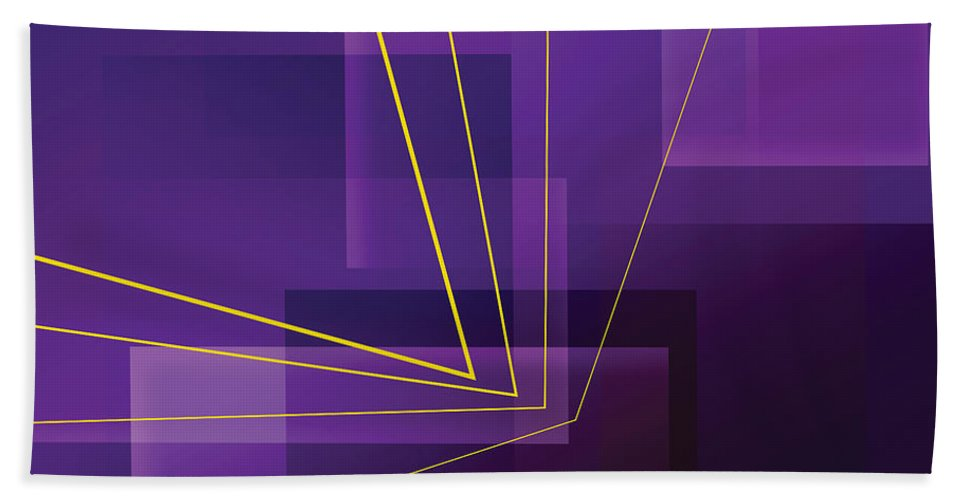 Abstract Bath Sheet featuring the digital art Yellow Angles Through Purple Landscape by James Kramer