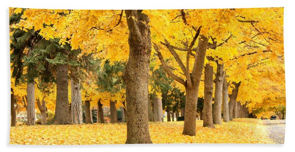 Autumn Hand Towel featuring the photograph Yellow Autumn Wonderland by Carol Groenen