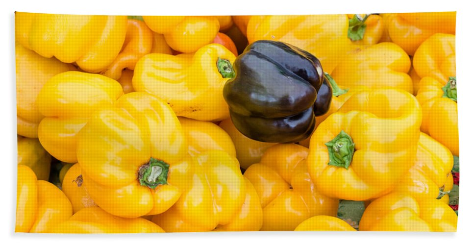 Agriculture Bath Sheet featuring the photograph Yellow Bell Peppers by John Trax