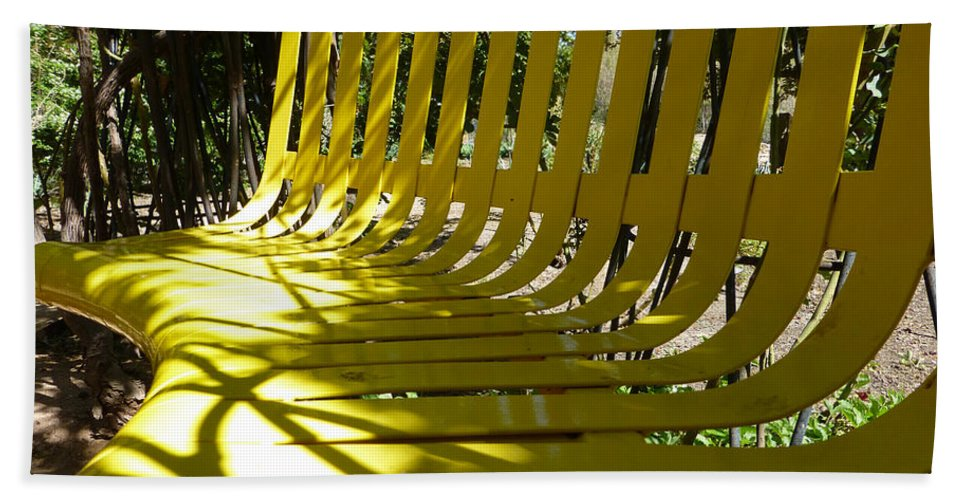 Yellow Hand Towel featuring the photograph Yellow Bench by Claudia Goodell