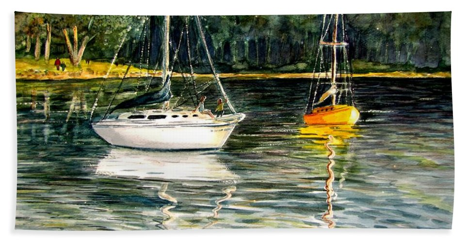 Sailboats Bath Sheet featuring the painting Yellow Boat Sister Bay by Marilyn Smith