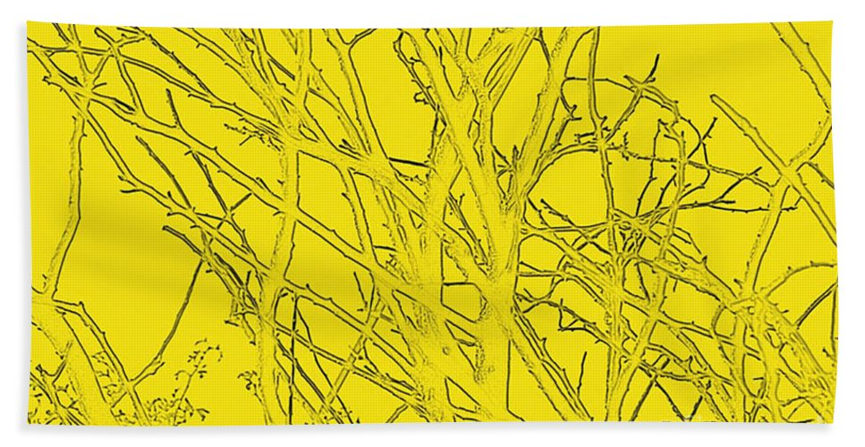 Yellow Bath Sheet featuring the digital art Yellow Branches by Carol Lynch