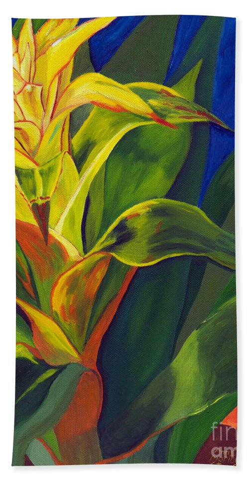 Yellow Bromeliad Bath Sheet featuring the painting Yellow Bromeliad by Annette M Stevenson