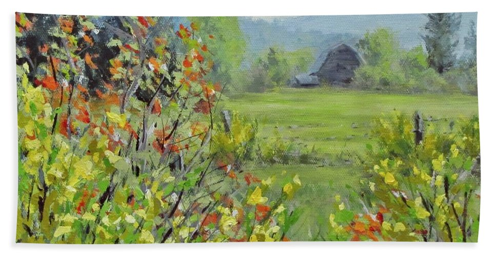 Landscape Hand Towel featuring the painting Yellow Broom Spring by Karen Ilari