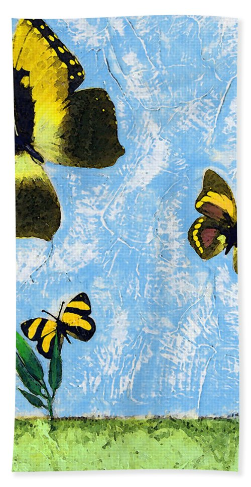 Butterfly Bath Sheet featuring the painting Yellow Butterflies - Spring Art By Sharon Cummings by Sharon Cummings