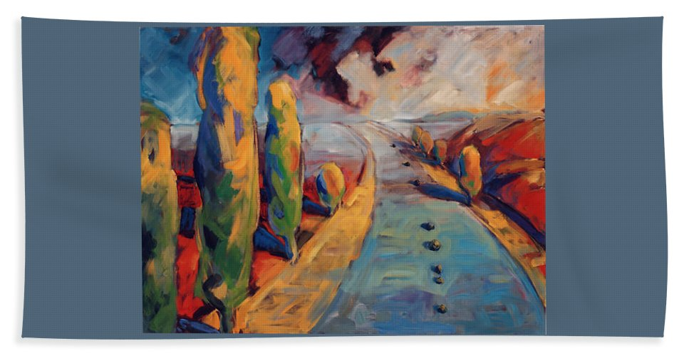 California Bath Sheet featuring the painting Yellow Cypress by Konnie Kim