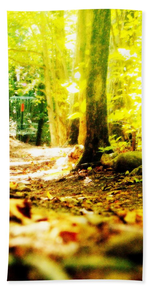 Disc Golf Hand Towel featuring the photograph Yellow Discin Day by Alicia Forton