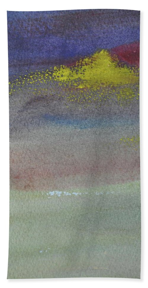 Abstract Bath Sheet featuring the painting Yellow Emerges by Kimberly Maxwell Grantier