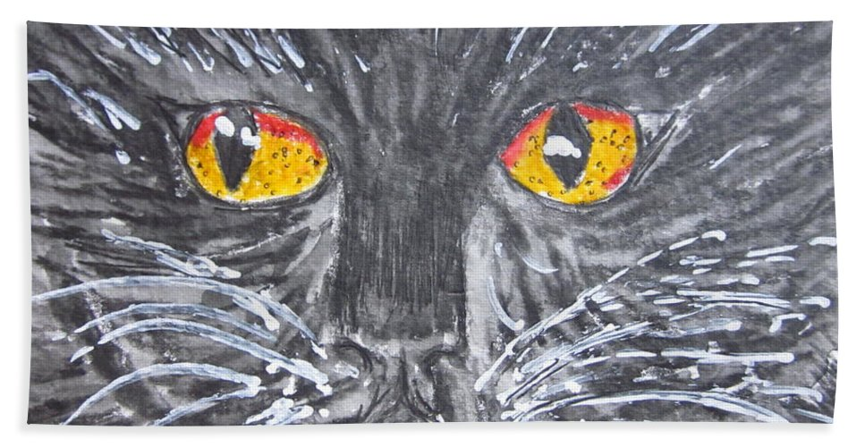 Yellow Eyes Bath Sheet featuring the painting Yellow Eyed Black Cat by Kathy Marrs Chandler