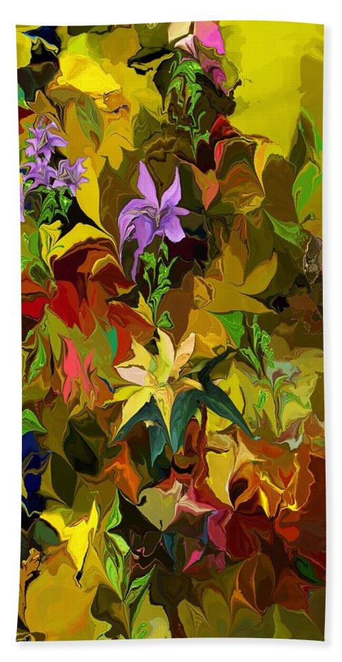 Fine Art Hand Towel featuring the digital art Yellow Fantasy Flower Garden by David Lane
