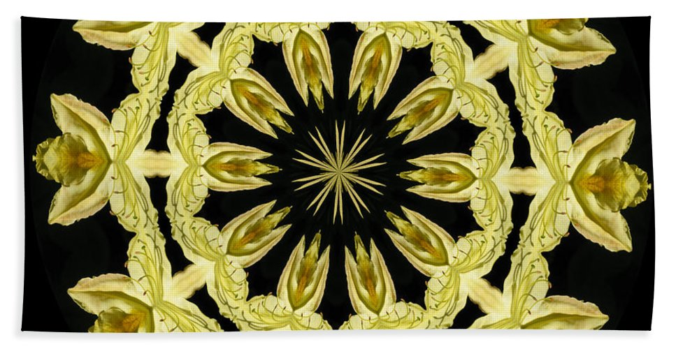 Kaleidoscope Hand Towel featuring the photograph Yellow Fantasy by Lena Photo Art
