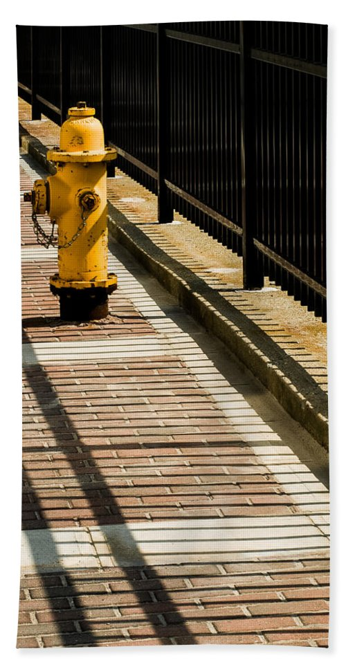 Waiting Room Hand Towel featuring the photograph Yellow Fire Hydrant - Pittsfield - Massachusetts by David Smith