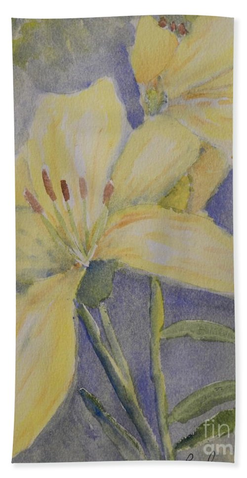 Impressionism Bath Sheet featuring the painting Yellow Flowers by Pamela Meredith