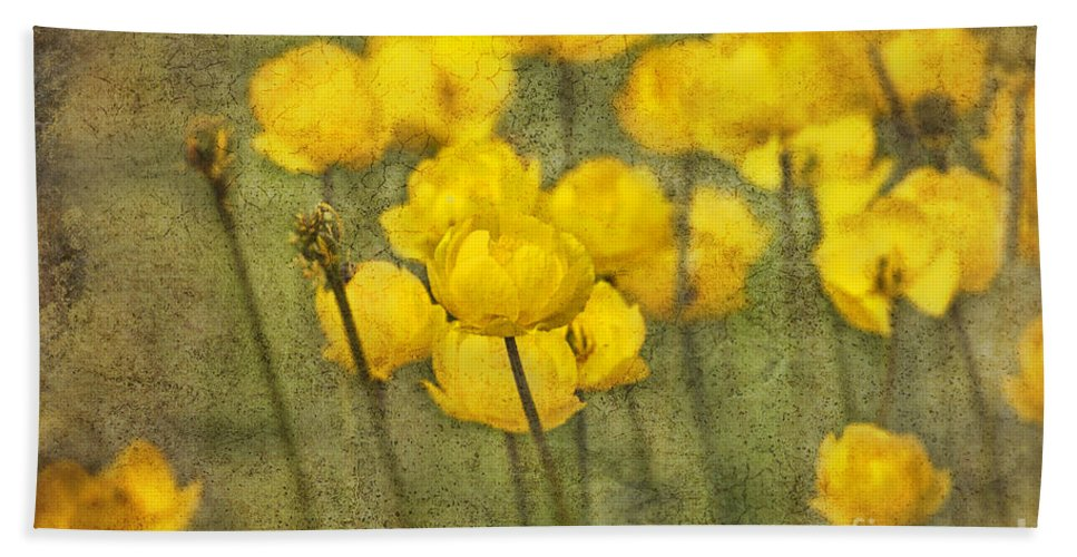 Flowers Hand Towel featuring the photograph Yellow Flowers With Texture by David Arment