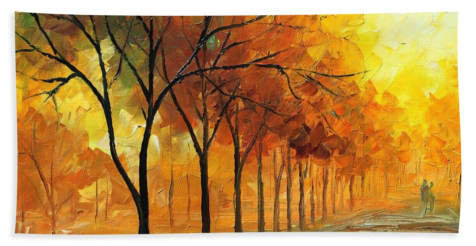 Oil Paintings Bath Sheet featuring the painting Yellow Fog - Palette Knife Oil Painting On Canvas By Leonid Afremov by Leonid Afremov