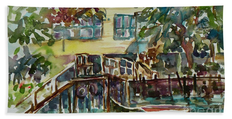 Idyllic Hand Towel featuring the painting Yellow House By The River by Xueling Zou