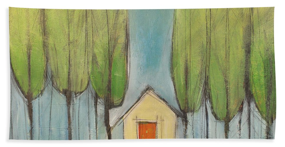 House Hand Towel featuring the painting Yellow House In Woods by Tim Nyberg