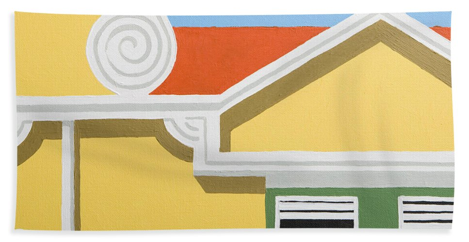 Yellow House Caribbean Architecture Curacao Aruba Antilles Sun Bath Towel featuring the painting Yellow House by Trudie Canwood