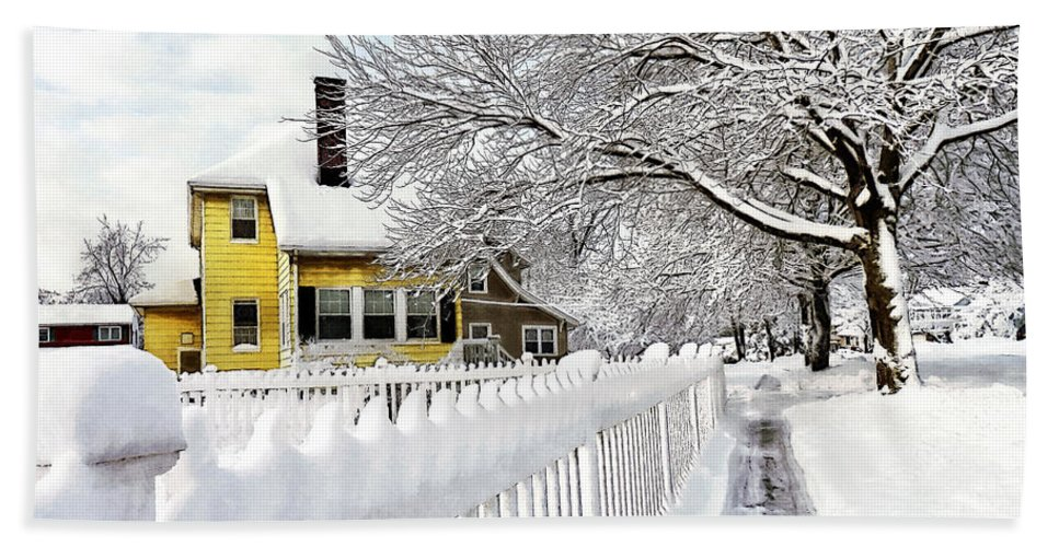 House Hand Towel featuring the photograph Yellow House With Snow Covered Picket Fence by Susan Savad