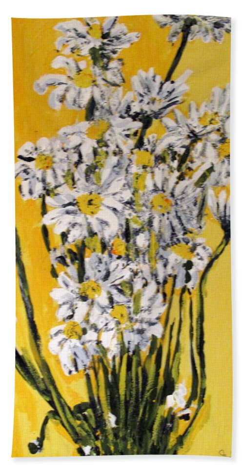 Daisy Hand Towel featuring the painting Yellow by Ian MacDonald