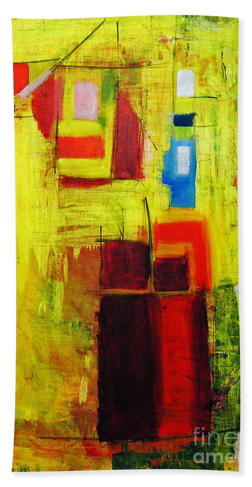 Abstract Painting Hand Towel featuring the painting Yellow by Jeff Barrett