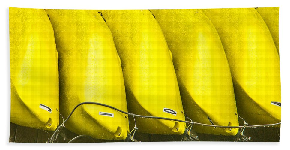 Steven Bateson Hand Towel featuring the photograph Yellow Kayaks by Steven Bateson
