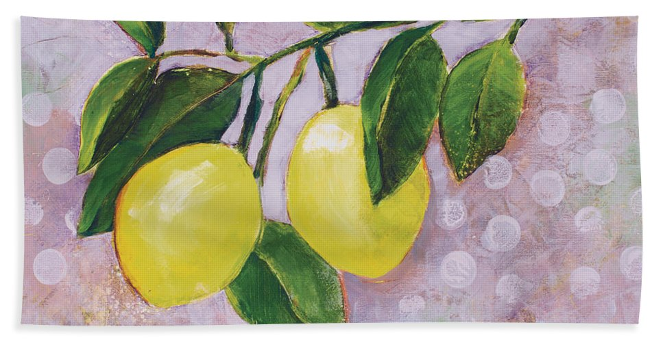 Jen Norton Hand Towel featuring the painting Yellow Lemons On Purple Orchid by Jen Norton