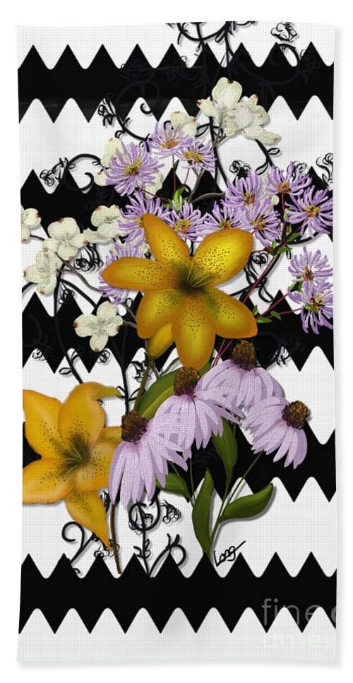 Zigzag Hand Towel featuring the painting Yellow Lilies On Black And White Zigzag by Nancy Long