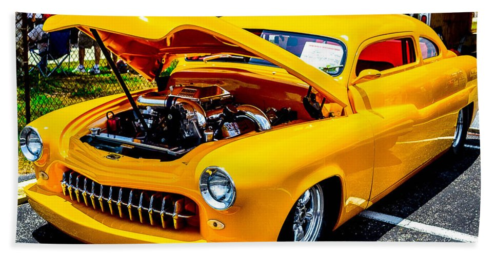 Antique. Hot Rod Hand Towel featuring the photograph Yellow Machine by Shannon Harrington
