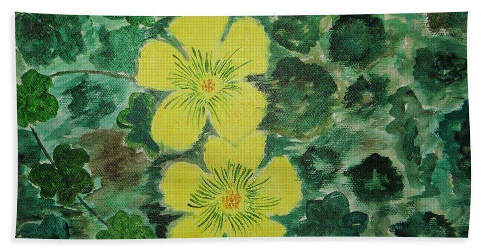 Yellow Flowersamidst Green Leaves Bath Sheet featuring the painting Yellow Magic by Sonali Gangane